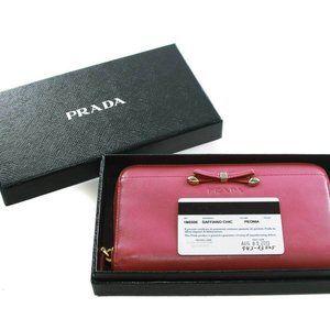 Prada Saffiano Chick Peonia leather zip around wal